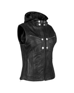HELL'S BELLES LEATHER VEST SIZE XS BLACK