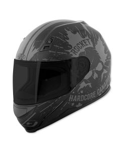 JOE ROCKET HARDCORE CANADIAN RKT7 FULL FACE HELMET SIZE XS BLACK/SILVER SINGLE LENS